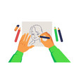 artist hands holding pencil and drawing woman vector image