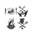 barbecue logo template badge design set vector image vector image