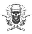 bearded and mustached trucker skull vector image vector image