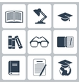 Black education icons set on white vector image
