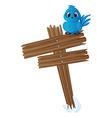 Blue bird on wood sign vector image