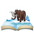 Book of mammoth on iceberg vector image vector image