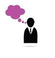 Business man with thought bubble vector image vector image