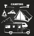 camping or hiking vintage elements on chalkboard vector image vector image