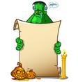 cartoon monster holding blank paper vector image vector image