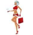 christmas girl is walking with persent and bag vector image vector image