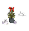 christmas hand-drawn decoration tree branches with vector image vector image