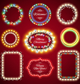 christmas lights frames set vector image