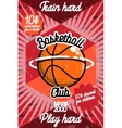 color vintage basketball poster vector image