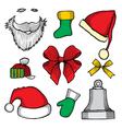 doodle hats Santa Claus vector image vector image