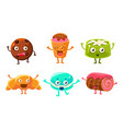 funny desserts cartoon characters set croissant vector image vector image