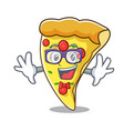 geek pizza slice character cartoon vector image vector image