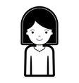 half body woman with hair middle length in black vector image vector image