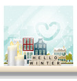 hello winter cityscape background vector image
