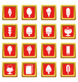 ice cream icons set red square vector image vector image