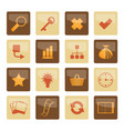 internet and web site icons over brown background vector image