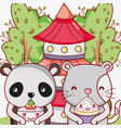 japan food and animals kawaii vector image