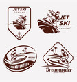 Jet ski set of stylized symbols emblem and label