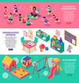 kindergarten isometric banners vector image vector image