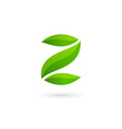 Letter Z number 2 eco leaves logo icon design vector image vector image