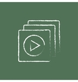 Media player icon drawn in chalk vector image vector image