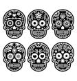 Mexican sugar skull Dia de los Muertos black icon vector image vector image