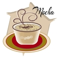 Mocha coffee also called Caffe with wooden saucer vector image