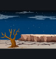 nature scene with dry land at night time vector image vector image