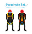 parachuters set - parachute pack bright extreme vector image
