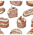 pattern of of different drawn cakes vector image vector image