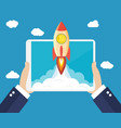 rocket flying over clouds with bitcoin icon vector image vector image