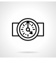 Round clock black simple line icon vector image vector image