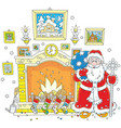 santa near a fireplace vector image