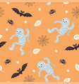 seamless halloween background fun mummies bat an vector image vector image