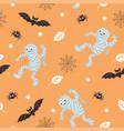 seamless halloween background fun mummies bat vector image