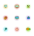 SEO icons set pop-art style vector image vector image