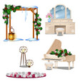 set of vintage furniture interior items isolated vector image vector image