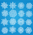 set of white snowflakes holiday collection vector image