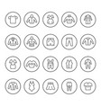 set round line icons of clothes vector image vector image