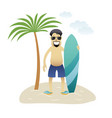 summer banner man on the beach is standing under vector image vector image