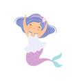 sweet little mermaid cute sea princess character vector image vector image