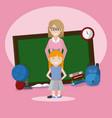 teacher with school girl vector image