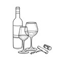 two watercolor glasses wine bottle cork and vector image