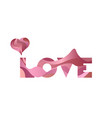 wavy sign the word love with heart on vector image