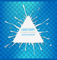 white liquid triangle banner with splash drops vector image vector image