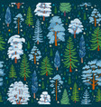 winter forest tree pattern woodland seamless vector image vector image