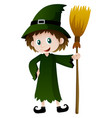 witch in green outfit with magic broom vector image vector image