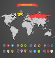 World map infographic template with different mark vector image