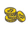 yellow bitcoin coins vector image vector image