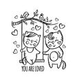 you are loved valentine day swinging cat vector image